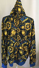 Sarin Yellow Blue Hooded Skulls Chains Rims Long Sleeve Track Jacket Sz Large L