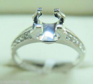 Solid Platinum 900 Classic U Prongs 0.163ct Diamonds Engagement Ring Setting