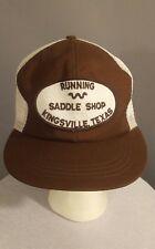 Vintage RUNNING W Saddke Shop King Ranch Kingsville Texas Mesh Trucker Hat Cap