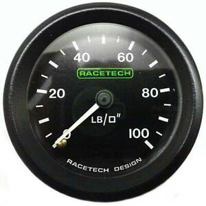 "Racetech Mechanical Oil Pressure Gauge 0-100 PSI With 1/8"" BSP (Nipple) Fitting"