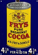 fry's Cacao, estilo antiguo, Letrero Metal, Coleccionable, esmalte, no.610