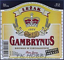 Poland Brewery Ciechanów Gambrynus Leżak Beer Label Bieretikett Cerveza ci75.2