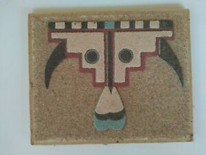 """Authentic Signed Native American Sand Art Painting """"Buffalo Feathers"""