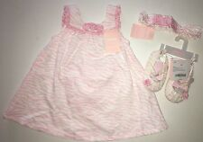 NWT Gymboree Zebra Baby 6-12 Months Pink Jumper Dress Shoes & Fruffle Headband