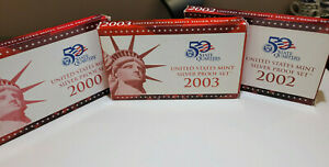 3 Original Boxed Sets 1 - 2000 , 2002 , 2003 United States Mint Silver Proof Set