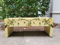 Vintage Chinoiserie Yellow Laquer Handpainted Bird Floral Coffee Table Eclectic