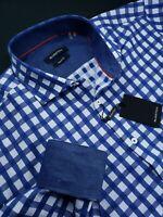 Bugatchi Classic Fit Buffalo Check Sport Shirt Navy Blue