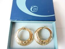 Beautiful Large Earrings/Folding Creole__Ornament__ Gold Plated___Pierre Lang