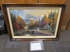 """1997 Thomas Kinkade VALLEY OF PEACE Offset Lithograph SIGNED/FRAMED 24""""x36"""""""
