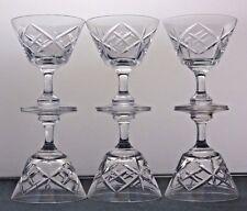 6 TUDOR CRYSTAL CUT GLASS WALSINGHAM SHERRY PORT LIQUOR GLASSES,9.2CM TALL