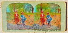 """ANTIQUE STEREOVIEW CARD - #1033 - """"FRENCH BICYCLE MAIDENS - THE SHADY PATH"""""""