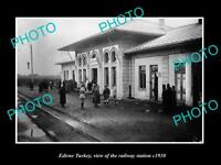 OLD LARGE HISTORIC PHOTO EDIRNE TURKEY VIEW OF THE RAILWAY STATION c1910