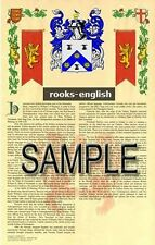 ROOKS Armorial Name History - Coat of Arms - Family Crest GIFT! 11x17
