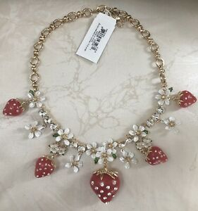 NEW Betsey Johnson Strawberry Floral Lily Frontal Necklace 100% Authentic