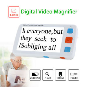 5'' LCD Display Electronic Video Magnifier 4-32X Zoom Reading Aids fit Elderly