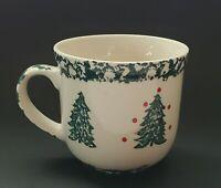 "Tienshan Folk Craft Holiday Pines Mug Cup Green Sponge Trees and Trim 4"" Coffee"