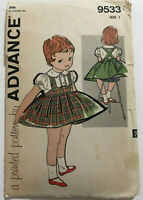 1960's VINTAGE SEWING PATTERN ADVANCE 9533 Child size 1 Suspender Skirt Blouse