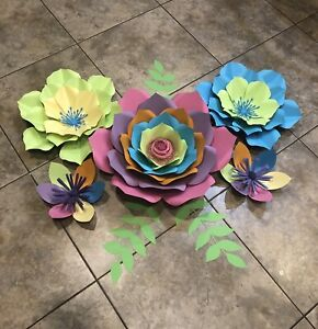 Paper Flowers set of 5 with leaves, Backdrop, Nursery, Trolls, Coco Theme