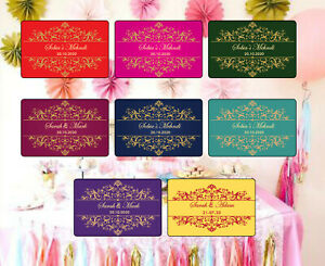 21 Personalised Wedding MEHNDI DHOLKI Rectangular Stickers Labels MATT