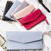 Ultra-thin Envelope Hand Bag Clutch Girls Wallet Money Women PU Leather Purse