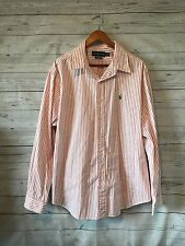 Polo Ralph Lauren Men's Orange and White Striped Button Down Shirt Size XXL