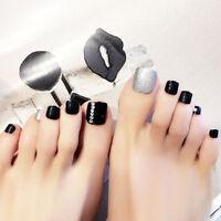 24pcs / set pied de mode faux ongles strass faux faux-ongles avec de la colle FR