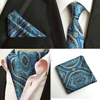 Mens Stylish Blue Yellow Floral Silk Necktie Ascot Cravat Pocket Square Set Lot