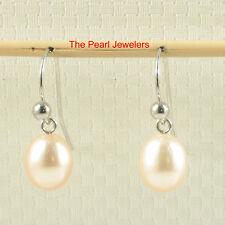 14k White Gold Fish Hook Gold Ball Design; Peach Cultured Pearl Earrings TPJ