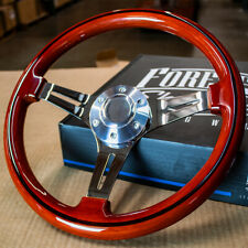 14 Inch Polished Steering Wheel with Vintage Light Mahogany Wood Grip