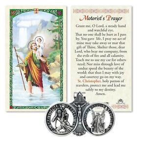 St Saint Christopher Guardian Angel Car Medal Auto Visor Clip With Prayer Card