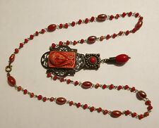 Vintage Art Deco Style Czech Glass Bead Egyptian Revival Pendant Necklace