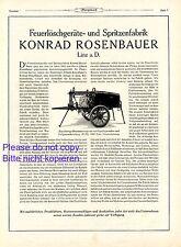 Feuerlöschgeräte Rosenbauer Linz XL 1926 Reklame Feuerwehr Spritzenwagen Werbung