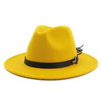 Chapeau Fedora en Laine à Large Bord Pour Dames Trilby Gambler Chapeau Femmes