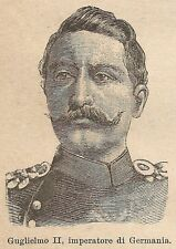 A9027 Guglielmo II imperatore di Germania - Xilografia Antica 1906 - Engraving