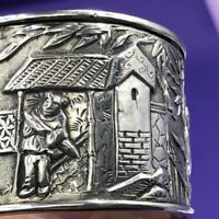 Chinese export figural silver napkin ring KC
