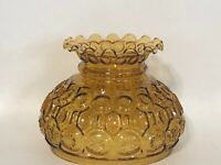 """Vintage GWTW 7"""" Moon And Stars Amber Glass Hurricane Oil Lamp Shade"""