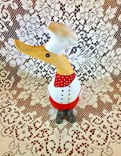 Vintage Wood Carved & Painted Chef Duck