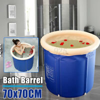 Portable Bathtub Folding Soaking Bath Tub Barrel Bathing Spa 120-150L 70CM