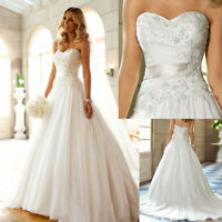 New A-line White Ivory Chiffon Wedding Dress Bridal Gown Size 6 8 10 12 14 16 18
