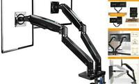"22-35"" Premium Dual Monitor Stand Mount w/USB, Ultrawide Computer Screen Desk"