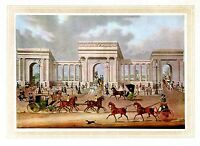 HORSES, COACHING, CARRIAGES, TWO IN HAND, FOUR IN HAND, HYDE PARK, COLOR PRINT