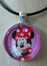 """Disney's """"MINNIE MOUSE"""" Glass Pendant with Leather Necklace"""