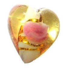 10 Pcs 12mm Lampwork Heart Glass Beads - Golden - A4100