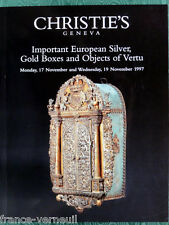 Catalogue Christie's Important European Silver Gold Boxes Objects of vertu 1997