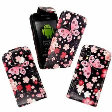 CASE FOR SAMSUNG GALAXY ACE FLIP PU LEATHER BLACK PINK BUTTERFLY FLOWER COVER
