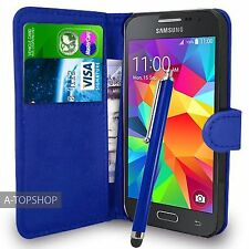 Blue Wallet Case PU Leather Book Cover For Samsung Galaxy Core Prime G360 G361