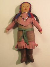 Vintage/Antique Native American Indian Leather Doll With Bead Work And Real Hair