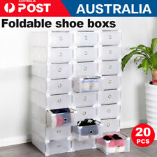 10/20x Clear Stackable Plastic Lady Shoe Storage Box Foldable Cabinet Organiser