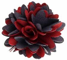 David Van Hagen Mens Fabric Flower Lapel Pin - Red/Grey