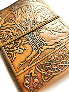 Tree leather bound notebook journal Book of Shadows steampunk book travel dream